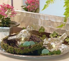 S/2 Lit Mercury Glass Birds with Nest and 3 Frosted Eggs by Valerie — QVC.com