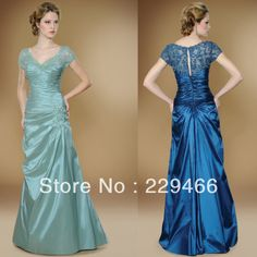 New ! Wholesale Online Shopping Short Sleeve Sage Turquoise V-Neck Lace Sheath Floor Length Vintage Mother of the bride dress US $243.75 - 293.75
