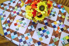 Lap Quilt with Pillow, Table Top Quilt, Baby Quilt, Wheel Chair Quilt, Wall Quilt, Jacobs Ladder, Scrappy Quilt by HappyGoQuilting on Etsy