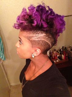 @LaToya Chenelle purple hair with shaved sides and barber design