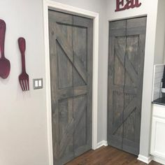 Add design elements to all aspects of your home. Replace your standard white pantry or closet doors with a beautiful hinged bi-fold doors. Bifold Barn Doors, Sliding Barn Door Hardware, Sliding Doors, Gate Hardware, Pergola, Pine Doors, Wood Doors, Rustic Luxe, Rustic Barn