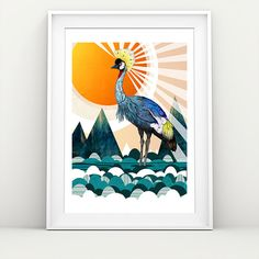 Crowned Crane // A3 print by SandraDieckmann on Etsy