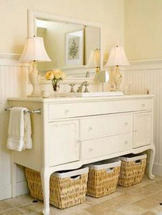 bathroom vanity luxury bedding and bathroom decor sets white tile and wood Great design idea for the bathroom, a pull out cabinet pretty Decor, Furniture, Interior, Home, Repurposed Furniture, Bathrooms Remodel, Bathroom Design, Beautiful Bathrooms, Vanity Design
