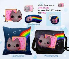 Kawaii Nyan cat by *tho-be on deviantART Angry Birds, Tumblr Shop, Nyan Cat, Sleep Mask, Messenger Bag, Coin Purse, Nerd, Kitty, Deviantart