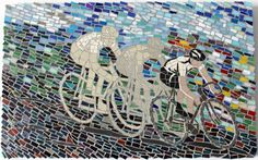 Race to the Finish (sold) Unglazed ceramic, vitreous glass, slate, mirror, bicycle chain