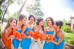 The girls, Moliere Bridal . Tammy Odell Photography. Orange and turquoise wedding.