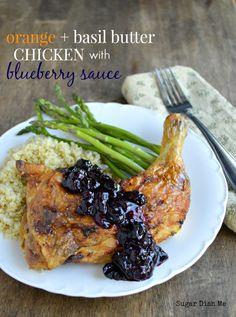 Orange Basil Butter Chicken with Blueberry Sauce