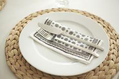 http://mykeminutter.blogspot.no:   Simple table setting: Place mats IKEA, napkins Tine K.