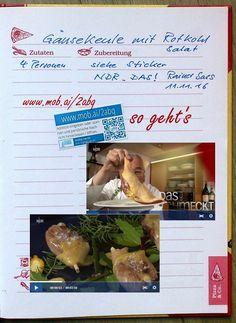 https://www.mob.ai/2abq  - Kochen Backen Rezepte Rezeptbuch QR-Code - Gänsekeule mit Rotkohlsalat. Rezepte im eigenen Koch Handbuch.  Einfach moby.cards Sticker einkleben, Editor öffnen, Rezept mit Bildern, Video hinzufügen, fertig.  Cooking Baking Recipes Recipe book QR-Code - Wonderful recipes in your own bake manual. So it goes: stick a moby.cards sticker on a page, open the editor, add a recipe for Christmas baking with pictures and video, finished diary  notebook apps qr code ideas