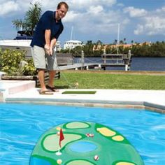 The 18th hole - just for the pool! Pro-Chip Spring Golf™ from SwimWays® brings the golf green to your very own pool. This floating golf game lets you practice your chip shot, flop shot, or putt in your very own backyard.
