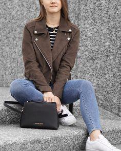 A Little Detail - Suede Moto Jacket, Striped Tee, Denim Skinny Jeans, White Sneakers // #fallfashion #suedejacket #brownleather #stripedtee #outfit #womensfashion