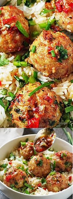 These Asian Pork Meatballs over Coconut Rice from Life Tastes Good make an easy weeknight meal! It is a snap to throw together and you won't be able to get enough of the sweet, tangy flavor!