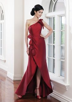 Red One Shoulder Mother of the Bride Dress with Bows and Ruched Cummerbund. Love the red...I just need those legs! Hee hee