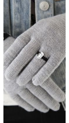 Cute gloves with a rhinestone ring on the ring finger