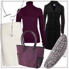 Rock in Creme Weiß, Mantel in Schwarz, Pullover in Burgund #bevonboch #style #essential