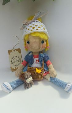 Amigurumi crochet doll #amigurumi #crochet #doll #colorful #yellowhair #dog #minibag