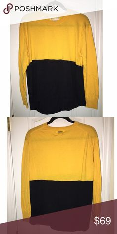 MICHAEL KORS color-block sweater MK color-block sweater, never worn only because this yellow does not compliment my blonde hair too well! It is an orange/yellow and navy on the bottom, *brand new-no tags* *a little wrinkly, will 100% steam out before shipping* Michael Kors Sweaters Crew & Scoop Necks