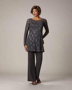ea50ddb169 Two Pieces Lace Top Long Sleeves Mother Of The Bride Gowns Formal Mother S  Pants Suits Custom