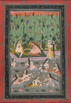 Krishna spying on the gopis bathing. Opaque watercolour and gold and silver paint on wasli paper, Bundi, Rajasthan, late century Indian Illustration, Indian Folk Art, Lord Krishna Images, Buddha Art, Krishna Art, Cat Party, Indian Paintings, Ancient Art, Art Inspo