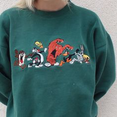 d278869fc82d56 Vintage 1996 forest green embroidered Looney Tunes crew neck sweater Vintage  Crewneck Sweatshirt
