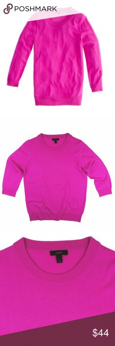 """JCREW Pink Merino Tippi Sweater Absolutely excellent condition. This pink Tippi sweater from JCREW features a crew neckline and 3/4 length sleeves. Made of 100% merino wool. Measures: bust: 39"""", total length: 24.5"""", sleeves: 18"""" J. Crew Sweaters Crew & Scoop Necks"""