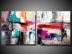 Colorfull abstract acrylic painting on by PaintingsYouWillLove