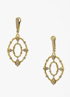 Judith Ripka Laurel Collection 18K Yellow Gold Diamond Oval Drop Earrings