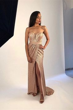 sweetheart gold sequin prom dress, sequin formal dress with slit Winter Prom Dresses, Evening Dresses, Ball Dresses, Club Dresses, Long Dresses, Sequin Formal Dress, Strapless Dress Formal, Prom Dresses Online, Dresses For Teens