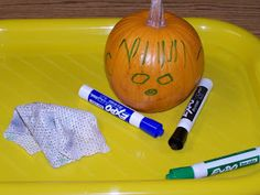 Learning Center-Grab some pumpkins and add them to your writing center for some write and wipe pumpkin face fun. Preschool Writing, Fall Preschool, Preschool Lessons, Kids Writing, Preschool Classroom, Preschool Activities, Preschool Pictures, Kindergarten, Writing Area