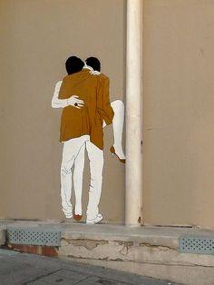 Claire Streetart es una artista francesa que pega en las paredes de ciudades como París o Montpellier las siluetas de amantes