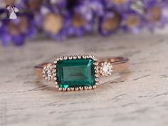 Green Lab-treated Emerald Solid 14K Rose Gold Band,Solid 14K Rose Gold Band,6x4mm Emerald Cut Green Gemstone Promise Ring,Bridal Ring,Claw Prongs,Halo Anniversary Ring - Wedding favors (*Amazon Partner-Link)