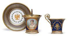 c1809-11 A SEVRES (HARD-PASTE) PORCELAIN BLUE AND GOLD GROUND PORTRAIT CUP AND SAUCER (TASSE 'JASMIN A PIED CANNELE' ET SON SOUCOUPE) IRON-RED STENCILED FACTORY MARK FOR 1811, GREEN-PAINTED GROUND-COLOR KILN MARK 24 TO EACH, THE CUP INCISED TT, THE SAUCER INCISED T, BOTH ALSO INCISED WITH DATE CYPHER 9 FOR 1809, SIGNED LE GUAY D'APRES ISABEY Price realised USD 32,500