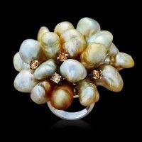 Margot McKinney Keshi Pearl and Diamond Cluster Ring