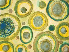 "Carolyn Dube using the Balzer Designs ""Burst"" stencil Mixed Media Painting, Mixed Media Art, Line Geometry, Aboriginal Dot Painting, Textures Patterns, Design Patterns, Circle Art, Doodle Sketch, Diy Wall Art"