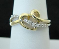 Diamond Heart Ring in Solid 10K Yellow & White Gold, 100% Genuine & NEW!
