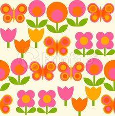 """""""Spring Garden Pink on Ivory"""" fabric from Prinfab®. Credit: alice apple. URL: https://prinfab.com/product/view/5sJbRU. Description: A fun retro mod floral print with bright butterflies on an ivory background.. Keywords: mod, 60s, 70s, pop, kids, childrens, butterfly, flower, floral, daisy, girls"""