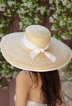 The Garners Wide Boater is crafted from natural straw and accented with white grosgrain that features a knot detailing at the back. Its wide brim is finished with a white bind. The adjustable drawstring inside can be used for a customised fit. Wheat Straw, Boater, Grosgrain, Knot, Detail, Natural, Girls, Fashion, Moda