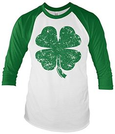 bdf71ad6 Threadrock Distressed Green Four Leaf Clover Unisex Raglan T-shirt XL  White/Kelly: Threadrock exclusive, available in selected sizes and colors.