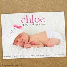 modern baby girl birth announcement. custom photo card. photo baby announcement