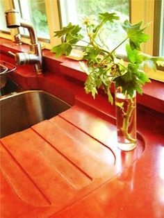. An integral drain board was cast into the countertop. The backsplash and window sill are also cast concrete in the same brick red color  Love the drainboard and the color