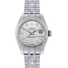 Pre-owned Rolex 179174 Datejust 26mm Silver Diamond Dial Z Series... ($6,995) ❤ liked on Polyvore featuring jewelry, watches, accessories, joyas, rolex, pre owned jewelry, silver diamond jewelry, silver dial watches and diamond jewellery