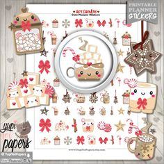 Hot Chocolate Hot Cocoa Chocolate Stickers Kawaii by YupiYeiPapers Printable Planner Stickers, Printables, Free Printable, Christmas Stickers, Christmas Paper, Christmas Ideas, Cocoa Chocolate, Unique Candles, Erin Condren Life Planner
