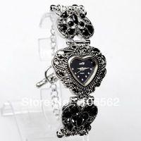 Free shipping High Quality Antique Black Titanium Silver with Crystal Rhinestone Women Lady Alloy Quartz Adjustable Wrist Watch