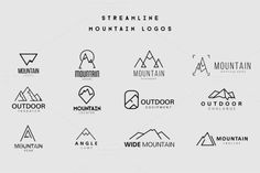 81101a09d8 Streamline Mountain Logos ~ Logo Templates on Creative Market Hiking Logo