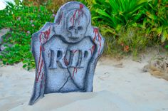 RIP Ghostship party decoration at the beach.