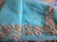 Zardosi Embroidery, Embroidery Suits Punjabi, Kurti Embroidery Design, Hand Work Embroidery, Couture Embroidery, Embroidery Fashion, Embroidery Dress, Beaded Embroidery, Bridal Mehndi Dresses
