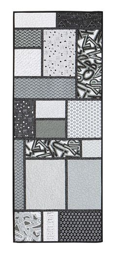 Black and white fabrics--great modern table runner! Random Windows Table Runner Kit by Tulip Square - ConnectingThreads.com