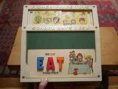 Vintage 70's Fisher Price School Days Play Desk Alphabet Magnets