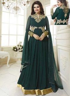 Prachi Desai Rama Green Embroidery Work Georgette Salwar Suit #Suits #Anarkali #Salwar   http://www.angelnx.com/Salwar-Kameez