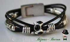 Leder Armband in schwarz,  Damen von Bijouxbaron_24 auf DaWanda.com